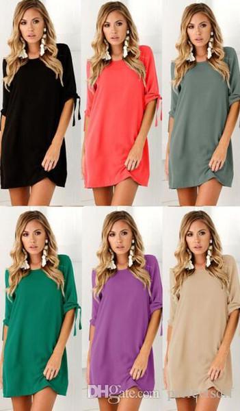 1700# 8 Colour S-3XL Sexy Womens Plus Size Long T-shirt Ladies Casual Party Mini Dress Blouse Tops