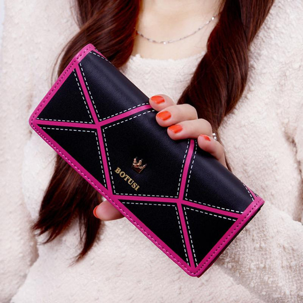 Fashion Women Wallets Good Quality Pu Leather Hasp Clutch Purse Long Money Bag Lady Handbag Crown Designer Wallet sac a main