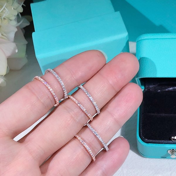 TSHOU166 moda Zircon Vintage rodada 925 mulheres anel de prata amor anel de noivado