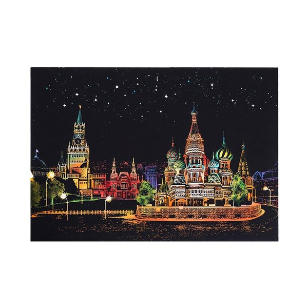 Magic Scratch Art Paper Colorful City Famous Spots Nightscape Pattern DIY Painting Board Notepad with Wooden Stylus Tool Perfect Gifts