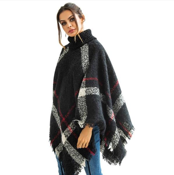 Neue Frauen Pullover Fledermaus Ärmel Stehkragen Unregelmäßigen Mantel Schal Pullover Frauen Retro Quaste Strickpullover