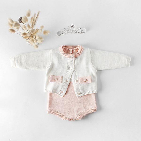 Meninas do bebê Princesa Romper Set Ins Burst Primavera Do Bebê Meninas de Malha Bolso Crianças Jaqueta de Tricô Casaco De Lã Macacão Terno de Escalada