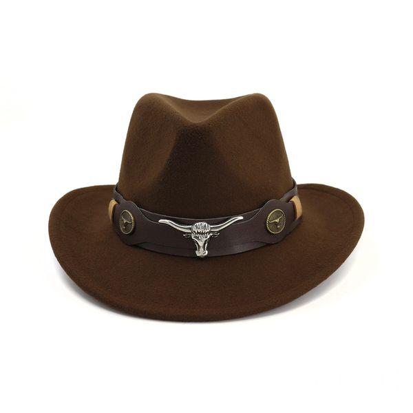 British Wool Felt Trilby Jazz Cowboy Fedora Hats Cow-head Leather Band Decor Men Women Wide Brim Panama Sun Cap Carnival Fedoras