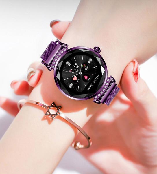 Kadınlar için son H2 moda akıllı izle, 3D elmas cam kan basıncı uyku monitör, en iyi hediye, akıllı izle