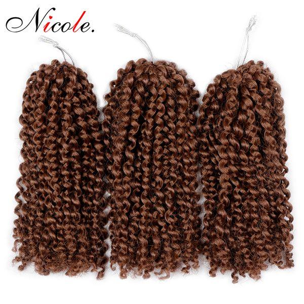 Nico Hair 8'' Crochet twist Synthetic Braiding Hair Afro malibob Braid Bundles Curly Burgundy For Women Low Temperature Fiber