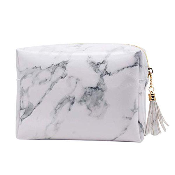 Alta Capacità Marmo Modello Cosmetic Bag Pennelli trucco corredo della borsa da toilette cassa in oro Zipper con la bellezza nappe (Smal