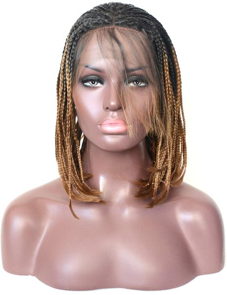 Dark Blonde Ombre Bob Wigs Box Braided Synthetic Wigs Cosplay Free Party Lace Front Wig Hand Tied Heat Resistant Fiber Hair Wig Two Tone