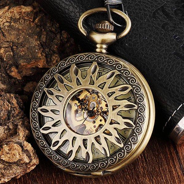 Vintage Steampunk Sun Flower Hollow Mekanik Pocket Saat Erkekler Antik İskelet Paslanmaz Çelik El Fob İzle Zincir kolye