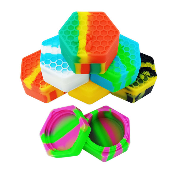 1PCS For Sale Hexagon Honeybee Non-Stick Wax Extract Bho Silicone Cure Cubes Jar Container Honey Dabs Box Bee Insects 26Ml