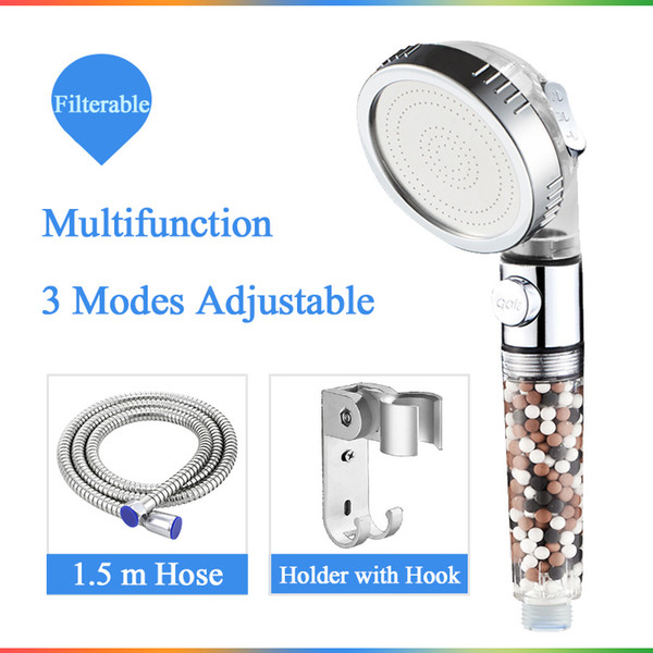 best selling Saving Water SPA shower head with stop button 3 Modes adjustable high pressure shower head New Replacement Filter balls
