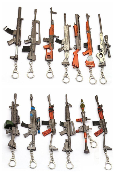 New Game Fortnite Keychain Accessories Gun Modles Battle Rifle Royale Key Chain Ring Metal Men Car Women Bag Jewelry Model no16866