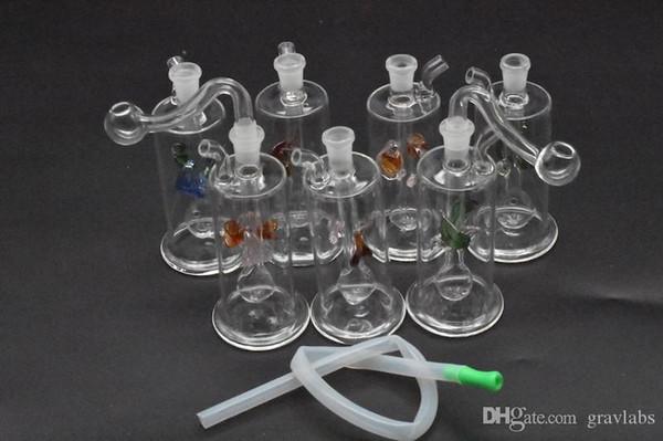 Портативный Красочный MINI Glass нефтяная вышка Бонг Труба Кальян Курительные трубки Табачный Фильтр Для Воды Курительная трубка со шлангом