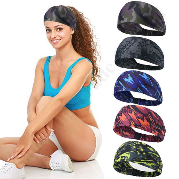 Brand U&A Elastic Hair Bands Trendy Camouflage Printed Athletic Headband Women Ponytail Holder Rope Hairlace Girls Yoga Head Bands C110402