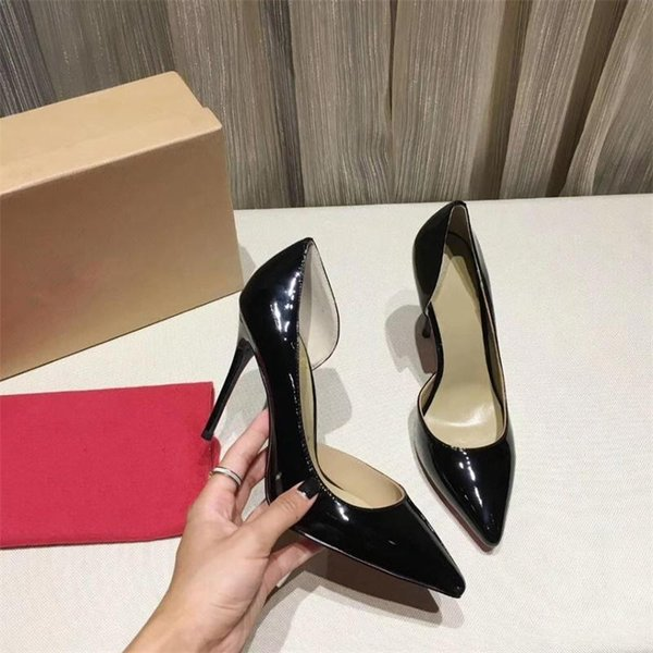 Women High Heels shoes Brand Designer Red Bottom shoes Luxury Glitter Pump Leather Pointed Toe Women Sexy Pumps Wedding Dress Shoes A12