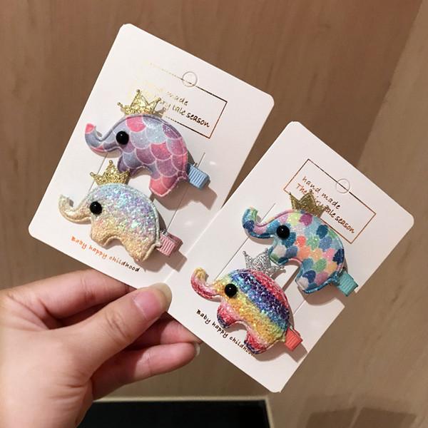 Nuovi accessori per capelli per bambini Set Sequin little Rainbow Elephant boutique Accessorio per capelli mollette per capelli per ragazze Set di capelli per capelli Clip