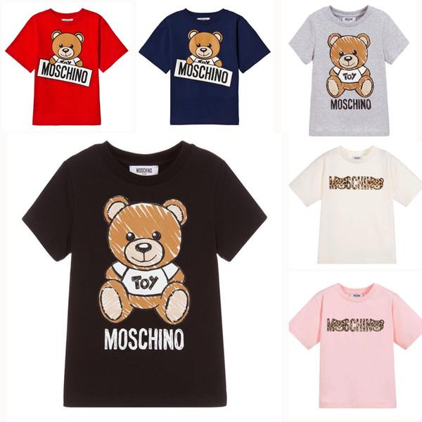 Crianças Designer de T Camisa Bonito Urso Padrão Tees Letras de Luxo Meninas Tops Meninos Ativos T-shirt Roupas para Crianças Por Atacado 6 Estilos Para Hip Hop