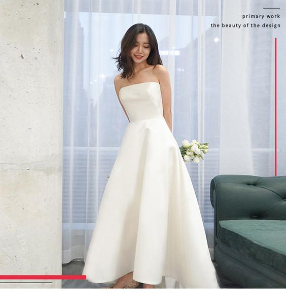 Robe Blanche Femme 2019 Nouveau Banquet Super Immortal Édition Coréenne Simple Brassière Satin Voyage Photo Vêtement De Mariage Léger