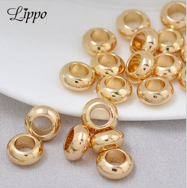 for bracelets 30pcs Real Glod plate Round Brilliant beads Fits For European style Bracelets beads fit