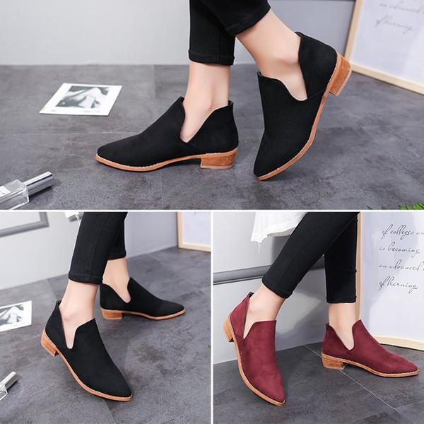 Mode Wasserdichte Stiefeletten High Heels Vintage Dicke Untere Stiefel Herbst Casual Frauen Schuhe Nubukleder Höcker Kopf