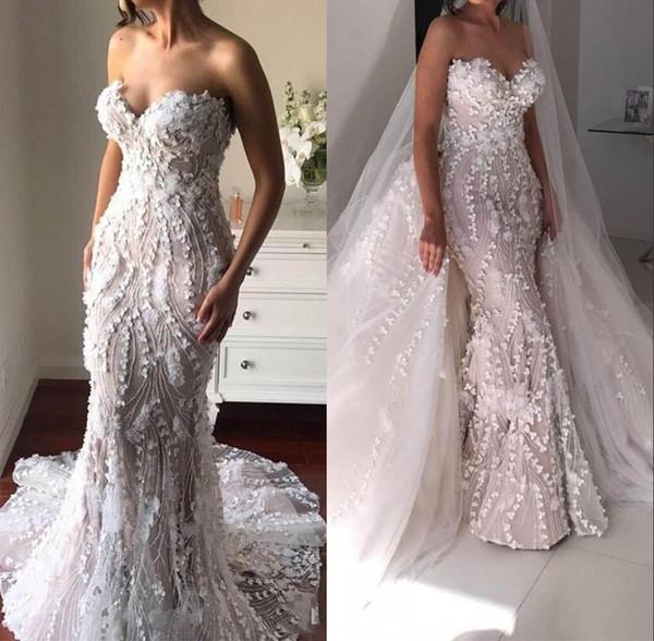 Lindo Overskirts Branco Sereia Vestidos de Casamento Com Trem Destacável Querida 3D Apliques Personalizados Vestido de Noiva Vestidos de Noiva