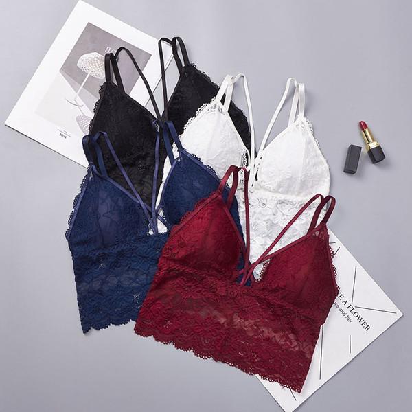 Sexy Spitzen-BHs für Frauen Plus Size Bralette Gepolsterter Push Up BH Drahtfrei Schwarz Weiß Blau Rot Spitzen-BH