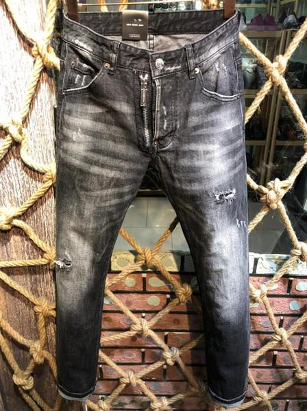2019 moda nueva llegada del verano de los hombres Denim Coolguy Jean bordado pantalones agujeros D2 Jeans botón para hombre pantalones largos 9321