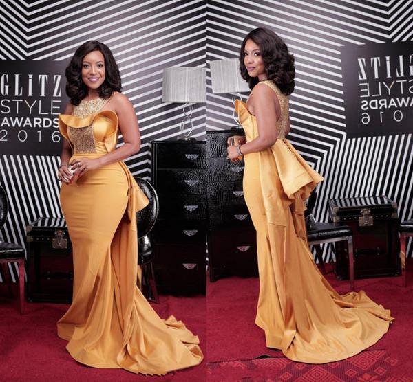 Sexy Sirena Abiti Da Sera Dubai Scoop Africano Collo di Perline di Raso Celebrity Abiti Da Donna Dusty Giallo Elegante Prom Abiti DH4128