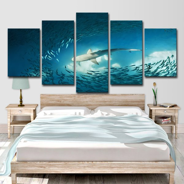 HD Printed 5 Piece Canvas Art Shark Painting Cluster of Fish Deep Blue Ocean Wall Pictures Decoration Free Shipping