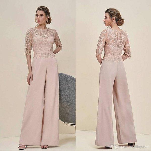 Ucuz Tulumlar Dantel Anne Gelin Pant Suits Bateau Boyun Yarım Kollu Düğün Konuk Elbise Şifon Artı Boyutu Anneler Damat Elbiseler