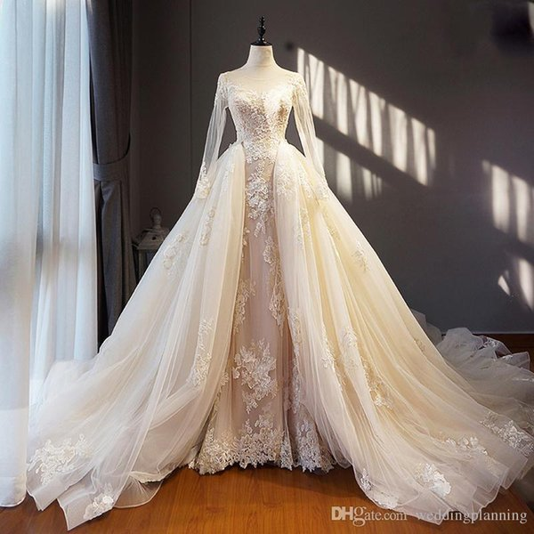 2018 Light Champagne Ivory Real Image Wedding Dress Long Removable Train Hem Appliques Long Sleeves Saudi Arabia Formal Brides Gowns
