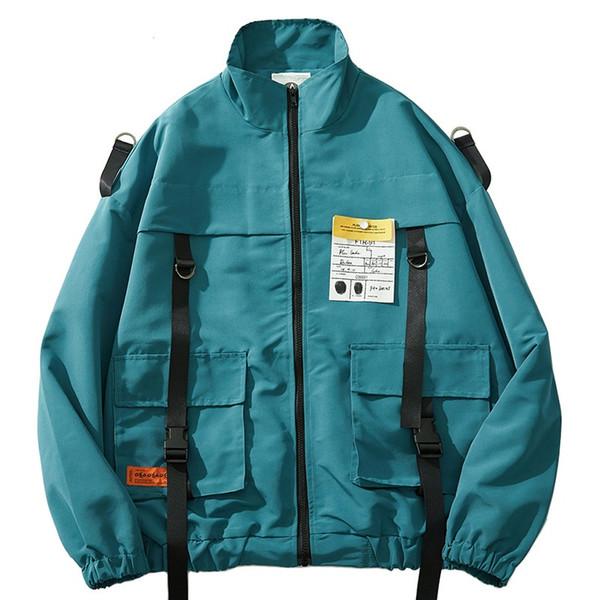 Мужская хип-хоп ветровка куртка Harajuku Streetwear ретро куртка пальто несколько карманов мода молния трек куртки осень 2019