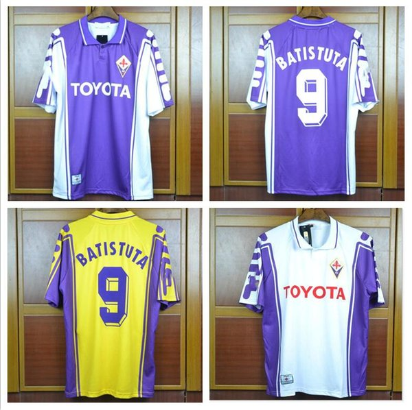 1999 2000 Retro Fiorentina Soccer Jerseys 9 BATISTUTA 10 RUI COSTA 98 99 Florence Home away 3rd yellow Football Shirt