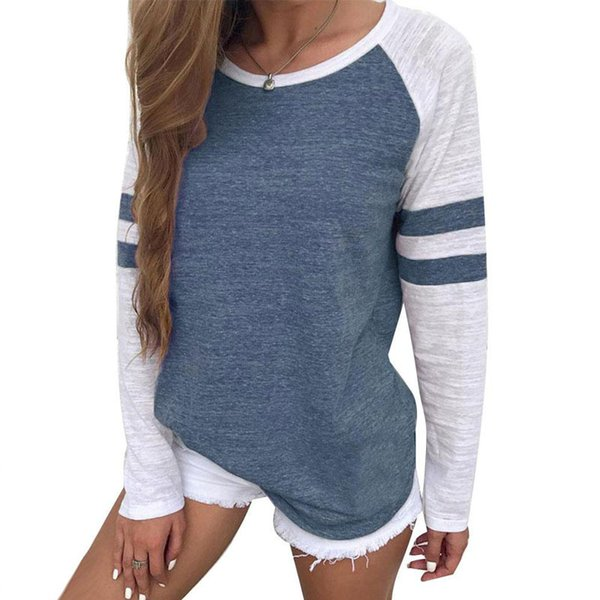 New Arrivals Red White Stripe Patchwork Casual Women Tops Tees Long Sleeve Simple Style O-neck T-shirt Ladies Solid