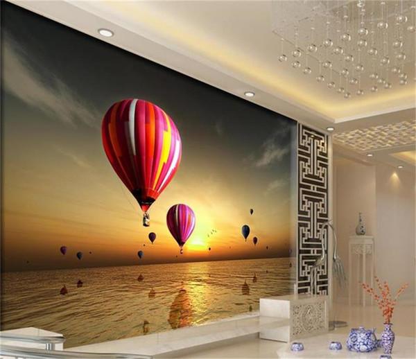 Personnalisé taille 3d photo papier peint salon murale Coucher Du Soleil Hot Balloon Scenery 3d image canapé TV toile de fond papier peint non-tissé mur autocollant