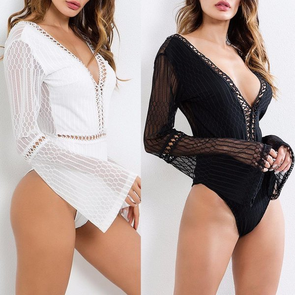 Women Sexy Hollow Out Bodysuit Deep V-Neck Backless Flare Sleeve Jumpsuit Romper