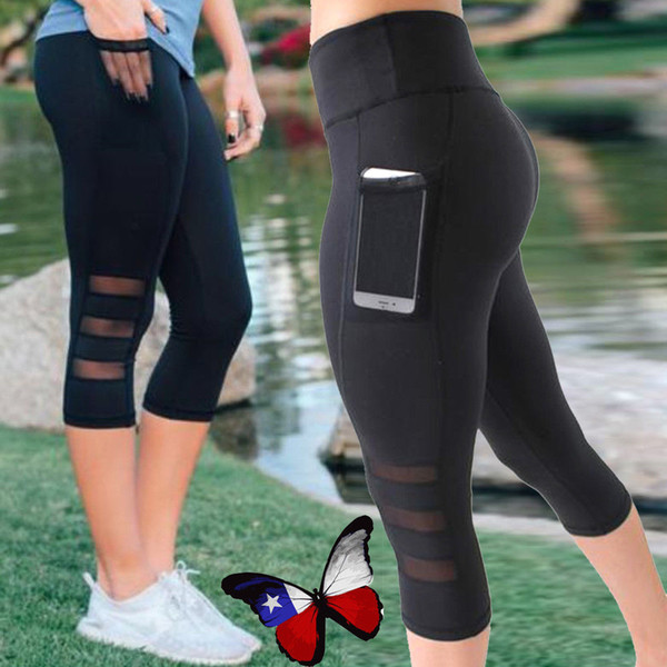 Siyah seksi Spor sporting Capri Pantolon Kadın Yüksek bel Elastik Örgü cep ile Kırpılmış pantolon tayt Legging pantolon pantolon LJJA2333
