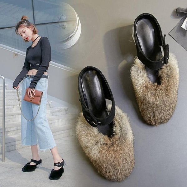 2019 Fashion Baby Pattern Baotou Transparent Coarse One Word Summer Genuine Leather Woman Cool Slipper