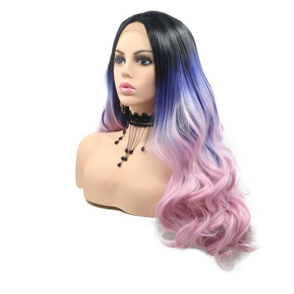 Black Ombre Blue Purple/pink Heat Resistant Lace Front Wigs For Women Cosplay Body Wave Hand-tied Long Synthetic Hair Wig