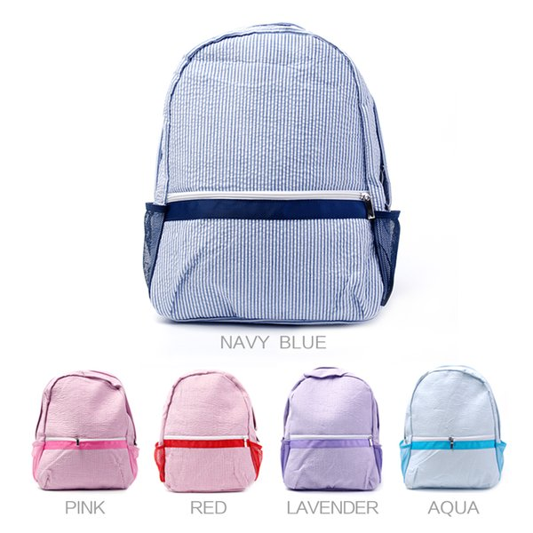 best selling Top sell Wholesale Blanks New Designer seersucker Cotton Fabric Zipper Closure Kids School Soft girl personalized baby Backpack boy DOM031