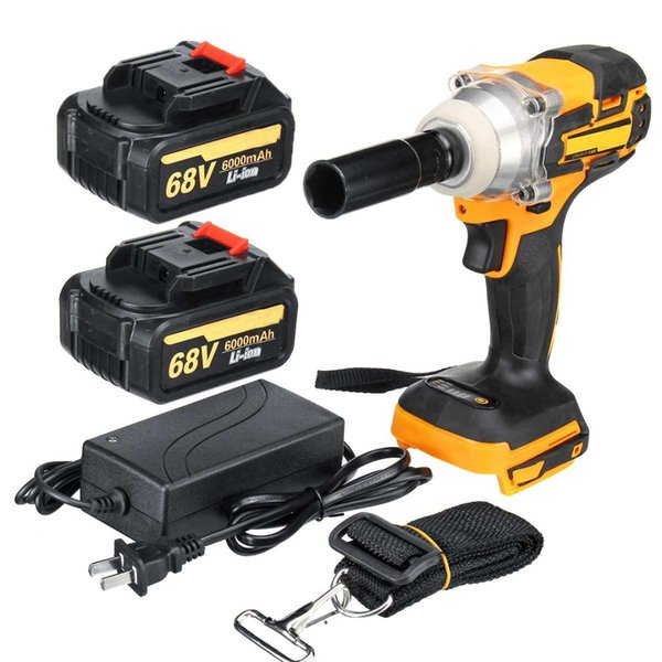 68V 6000mAh 380Nm Cordless Lithium-Ion Electric Impact Wrench Brushless Motor 1/2 Battery with Charge Power Tools