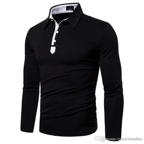 mens new fashion designer tshirt european and american pure color lapel embroidery long sleeve versatile casual t-shirt males apparel