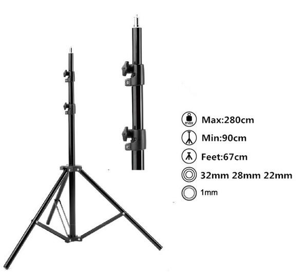 Max entension 280cm LED-Beleuchtung Ständer Stativ Ajustable Photo Studio Zubehör für Softbox Foto Video Licht vom Blitzlampen