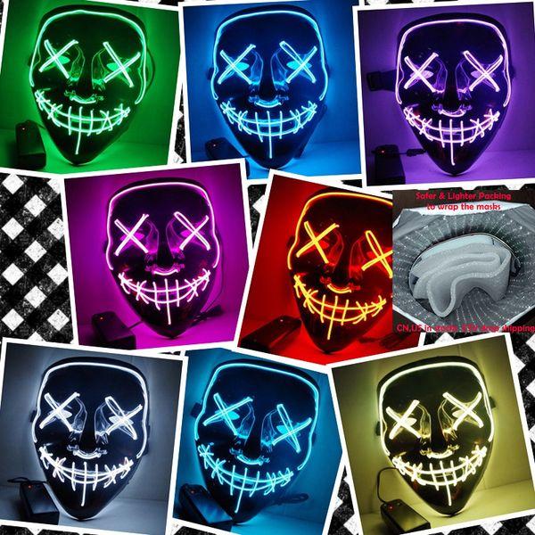 Máscara LED de Halloween Light Up Up Máscaras de fiesta El año de purga Grandes máscaras divertidas Festival Cosplay Suministros de disfraces Brilla en la máscara oscura