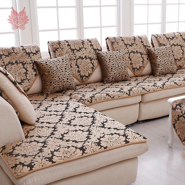 Europe Black Gold Floral Jacquard Terry Cloth Sofa Cover Plush Sectional  Slipcovers Furniture Couch Covers Capa Sofa SP3767 Slipcover For Chair And  ...