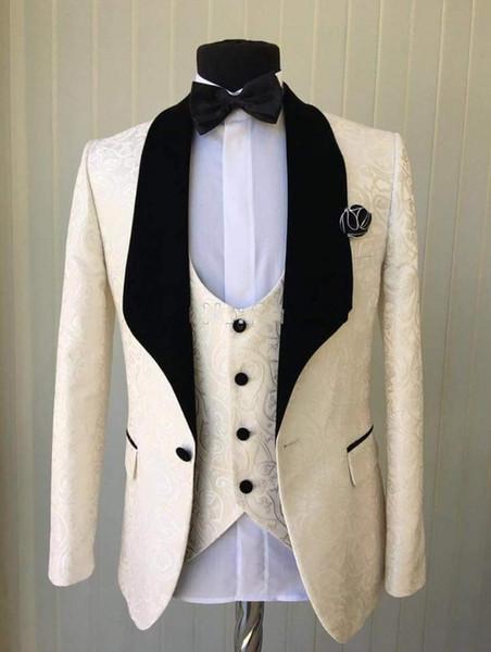 Popolare Champagne Jacquar Uomini Smoking Smoking Scialle di velluto Risvolto Smoking dello sposo Uomini Cena / vestito Darty Vestito a 3 pezzi (Jacket + Pants + Tie + Vest) 14