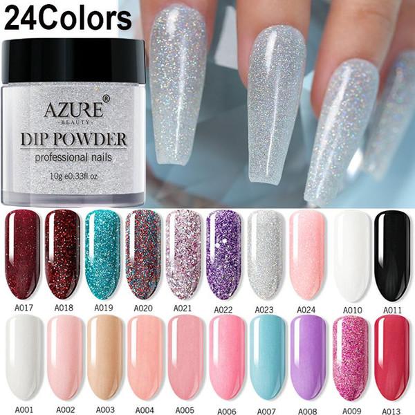 Azure Beauty 24 Unids Lote Kits De Arte Para Uñas En Polvo De Inmersión Conjunto De Polvos De Inmersión En Uñas Con Brillo De Color Gradiente