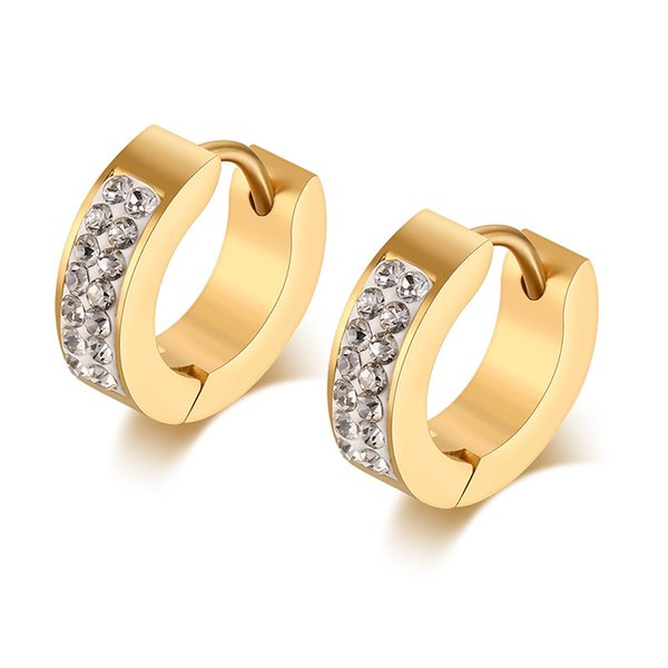 Mens Womens Stainless Steel CZ Diamond Accent Huggie Small Hoop Earrings,18K Gold Plated K3700