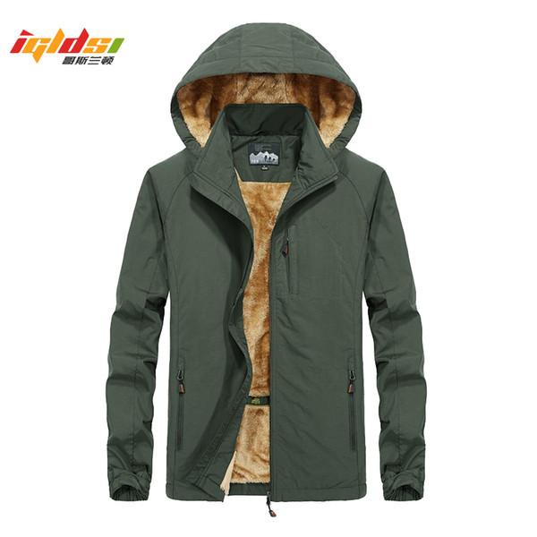 Winter Fleece Jackets and Coats Men Windproof Waterproof Outwear Parka Windbreaker Warm Raincoat Overcoat Plus Size 5XL
