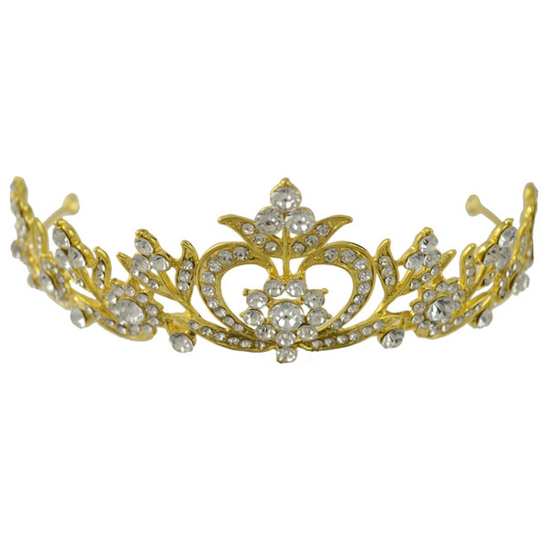 Gold Flower Bridal Crown Rhinestone Tiaras Headband Women Wedding Hair Jewelry Accessories Queen Stage Prom Princess Tiaras Gift