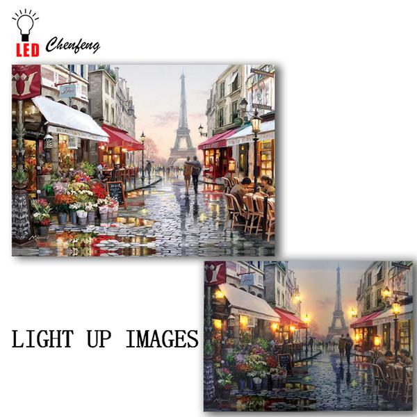 toile Lighted impression rue commerçante romantique Paris Tour Eiffe belle vue de la France Led peinture Canvas Wall Art Noël T200118